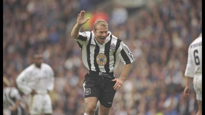 Alan Shearer of Newcastle United celebrates after scoring
