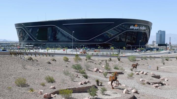 Los Vegas Raiders stadium in the desert.
