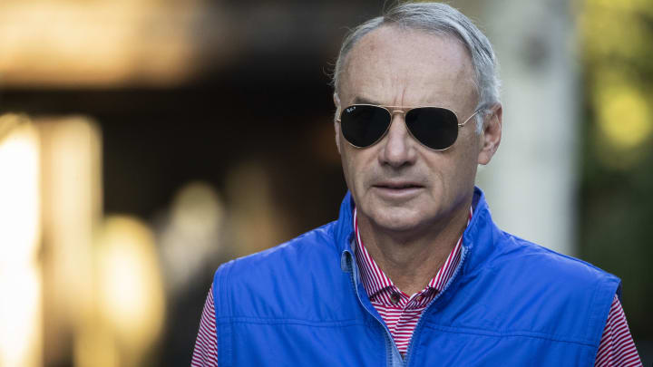 SUN VALLEY, ID - JULY 12: Rob Manfred, commissioner of Major League Baseball (MLB), attends the annual Allen & Company Sun Valley Conference, July 12, 2019 in Sun Valley, Idaho. Every July, some of the world's most wealthy and powerful businesspeople from the media, finance, and technology spheres converge at the Sun Valley Resort for the exclusive weeklong conference. (Photo by Drew Angerer/Getty Images)