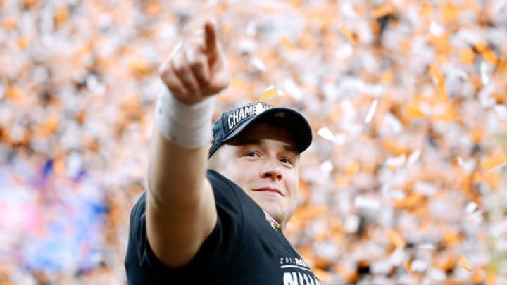 NEW ORLEANS, LOUISIANA - JANUARY 01: Sam Ehlinger #11 of the Texas Longhorns celebrates after winning the Allstate Sugar Bowl against the Georgia Bulldogs at the Mercedes-Benz Superdome on January 01, 2019 in New Orleans, Louisiana. (Photo by Jonathan Bachman/Getty Images)