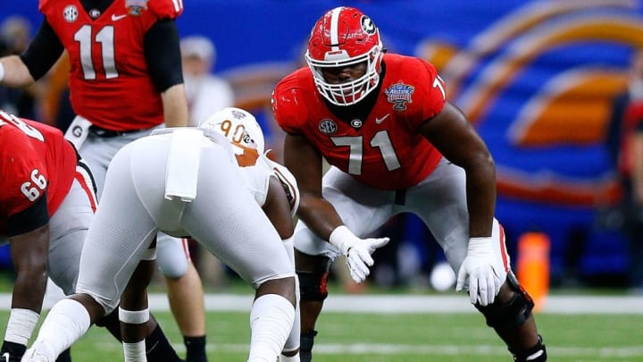 NEW ORLEANS, LOUISIANA - JANUARY 01: Andrew Thomas #71 of the Georgia Bulldogs guards during the Allstate Sugar Bowl against the Texas Longhorns at the Mercedes-Benz Superdome on January 01, 2019 in New Orleans, Louisiana. (Photo by Jonathan Bachman/Getty Images)