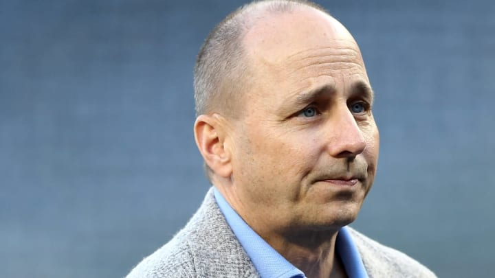 NEW YORK, NY - OCTOBER 03:  General Manager of the New York Yankees Brian Cashman looks on prior to the American League Wild Card Game against the Minnesota Twins at Yankee Stadium on October 3, 2017 in the Bronx borough of New York City.  (Photo by Elsa/Getty Images)