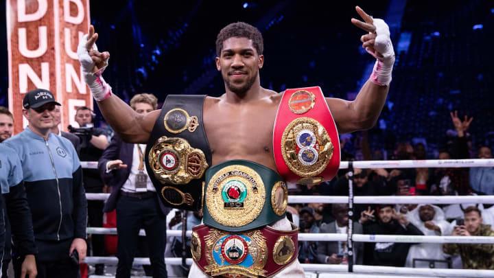 Anthony Joshua after reclaiming the IBF, WBA, WBO & IBO Heavyweight Titles