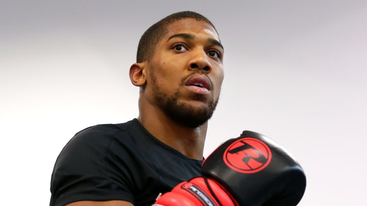 SHEFFIELD, ENGLAND - MAY 01: Anthony Joshua in action during a training session during the Anthony Joshua Media Day at the English Institute of Sport on May 01, 2019 in Sheffield, England. (Photo by Alex Livesey/Getty Images)