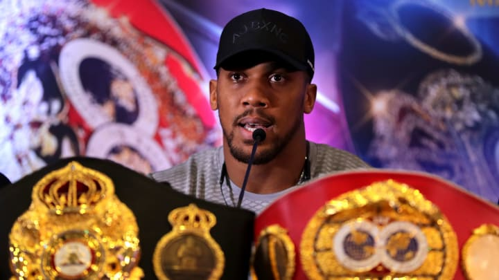 LONDON, ENGLAND - FEBRUARY 25: Anthony Joshua looks on during an Anthony Joshua and Jarrell Miller Press Conference ahead of their fight in June 2019 for the IBF, WBA and WBO heavyweight titles at Hilton London Syon Park on February 25, 2019 in London, England. (Photo by Richard Heathcote/Getty Images)