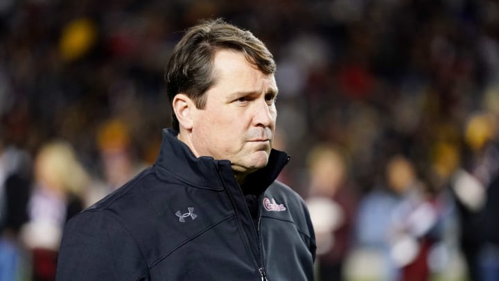 COLUMBIA, SOUTH CAROLINA - NOVEMBER 09: Head coach Will Muschamp of the South Carolina Gamecocks before their game against the Appalachian State Mountaineers at Williams-Brice Stadium on November 09, 2019 in Columbia, South Carolina. (Photo by Jacob Kupferman/Getty Images)