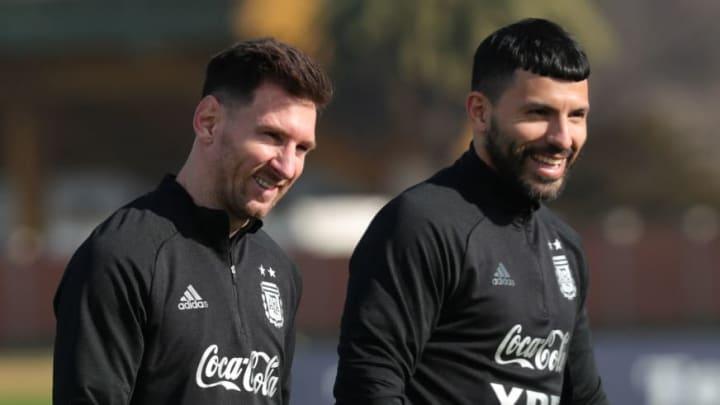 Sergio Aguero and Lionel Messi with Argentina