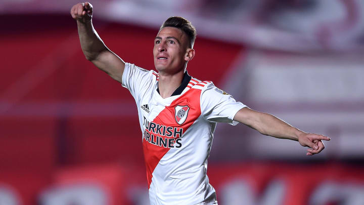 Braian Romero celebrando su gol en Copa Libertadores