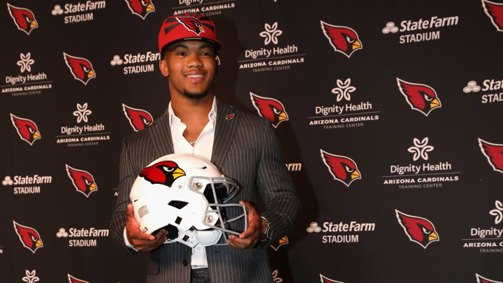 TEMPE, ARIZONA - APRIL 26: Quarterback Kyler Murray of the Arizona Cardinals poses during a press conference at the Dignity Health Arizona Cardinals Training Center on April 26, 2019 in Tempe, Arizona. Murray was the first pick overall by the Arizona Cardinals in the 2019 NFL Draft. (Photo by Christian Petersen/Getty Images)