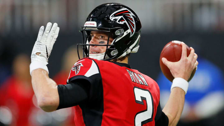 ATLANTA, GA - DECEMBER 16:  Matt Ryan #2 of the Atlanta Falcons looks to pass against the Arizona Cardinals at Mercedes-Benz Stadium on December 16, 2018 in Atlanta, Georgia.  (Photo by Kevin C. Cox/Getty Images)