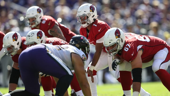 BALTIMORE, MARYLAND - SEPTEMBER 15: Quarterback Kyler Murray #1 of the Arizona Cardinals in action against the Baltimore Ravens during the second half at M&T Bank Stadium on September 15, 2019 in Baltimore, Maryland. (Photo by Patrick Smith/Getty Images)