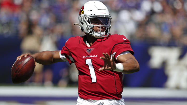 BALTIMORE, MARYLAND - SEPTEMBER 15: Quarterback Kyler Murray #1 of the Arizona Cardinals throws the ball against the Baltimore Ravens during the first half at M&T Bank Stadium on September 15, 2019 in Baltimore, Maryland. (Photo by Todd Olszewski/Getty Images)