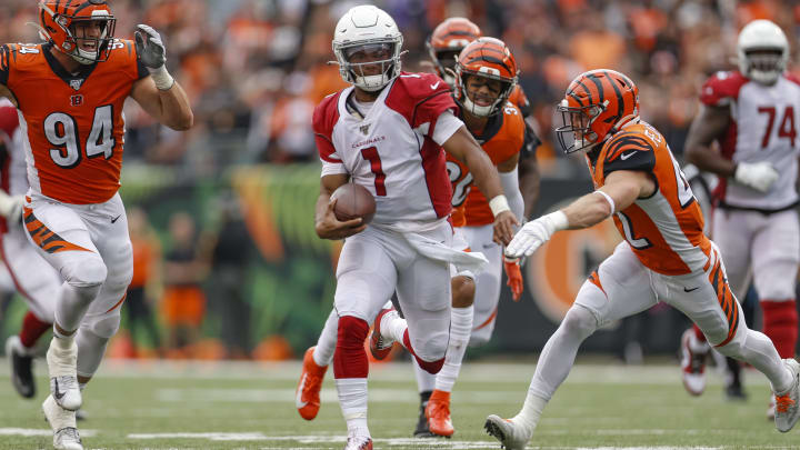 CINCINNATI, OH - OCTOBER 06: Kyler Murray #1 of the Arizona Cardinals runs the ball during the game against the Cincinnati Bengals at Paul Brown Stadium on October 6, 2019 in Cincinnati, Ohio. (Photo by Michael Hickey/Getty Images)