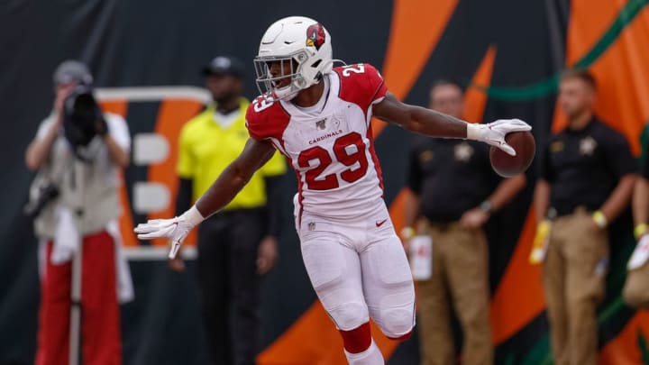 CINCINNATI, OH - OCTOBER 06: Chase Edmonds #29 of the Arizona Cardinals reacts after scoring a touchdown against the Cincinnati Bengals at Paul Brown Stadium on October 6, 2019 in Cincinnati, Ohio. (Photo by Michael Hickey/Getty Images)