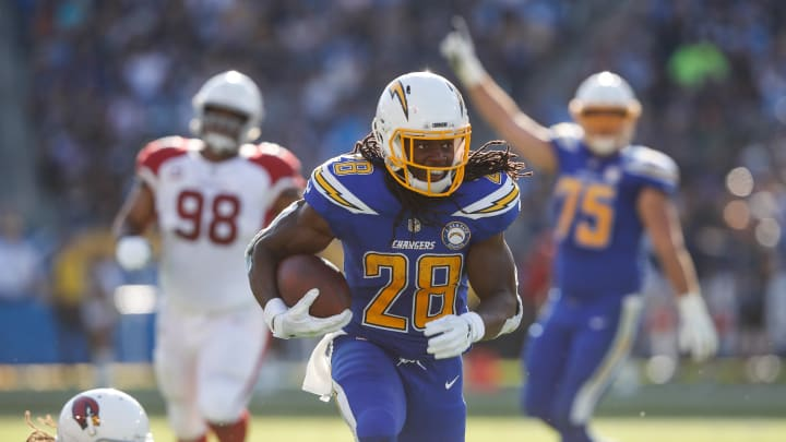 CARSON, CA - NOVEMBER 25: Running back Melvin Gordon #28 of the Los Angeles Chargers makes a run play in the second quarter against the Arizona Cardinals at StubHub Center on November 25, 2018 in Carson, California. (Photo by Sean M. Haffey/Getty Images)
