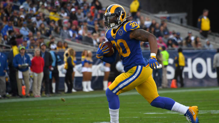 Todd Gurley plays for the Los Angeles Rams against the Arizona Cardinals
