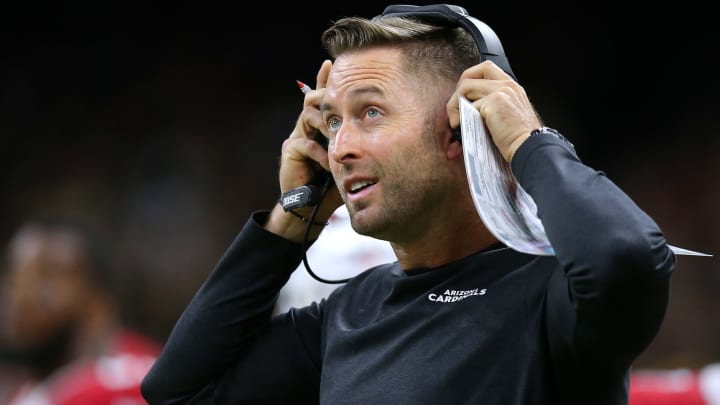 NEW ORLEANS, LOUISIANA - OCTOBER 27: Head coach Kliff Kingsbury of the Arizona Cardinals reacts during a game against the New Orleans Saints at the Mercedes Benz Superdome on October 27, 2019 in New Orleans, Louisiana. (Photo by Jonathan Bachman/Getty Images)