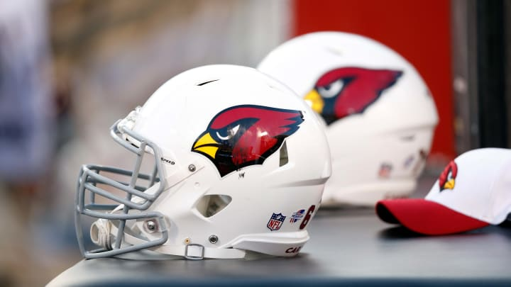 OAKLAND, CA - AUGUST 30:  Arizona Cardinals helmets sit on the sideline against the Oakland Raiders at O.co Coliseum on August 30, 2015 in Oakland, California.  (Photo by Ezra Shaw/Getty Images)