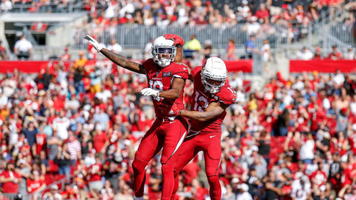 TAMPA, FL - NOVEMBER 10:Wide Receivers KeeSean Johnson #19 and Christian Kirk #13 of the Arizona Cardinals celebrate after a touchdown against the Tampa Bay Buccaneers during the game at Raymond James Stadium on November 10, 2019 in Tampa, Florida. The Buccaneers defeated The Cardinals 30 to 27. (Photo by Don Juan Moore/Getty Images)