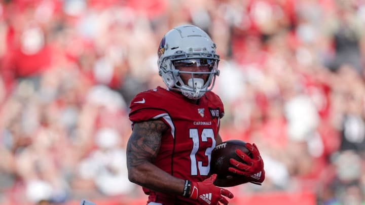 TAMPA, FL - NOVEMBER 10: Wide Receiver Christian Kirk #13 of the Arizona Cardinals runs in for a touchdown after a catch during the game against the Tampa Bay Buccaneers at Raymond James Stadium on November 10, 2019 in Tampa, Florida. The Buccaneers defeated The Cardinals 30 to 27. (Photo by Don Juan Moore/Getty Images)