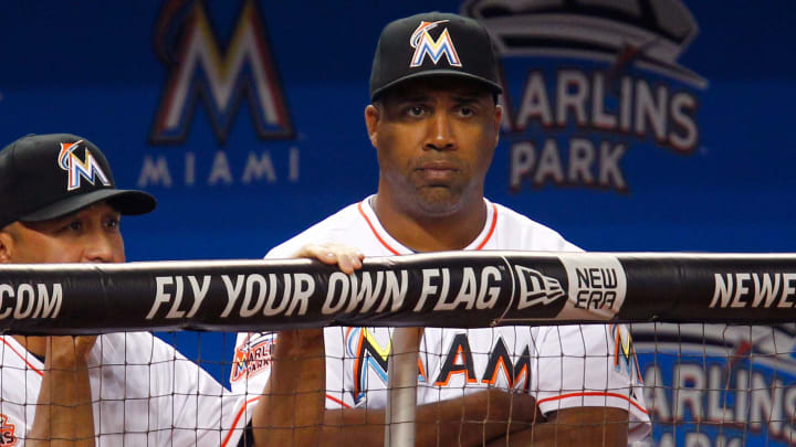 MIAMI, FL - APRIL 29:  Batting Coach Eduardo Perez #30 of the Miami Marlins looks on from the dugout during a game against the Arizona Diamondbacks at Marlins Park on April 29, 2012 in Miami, Florida.  (Photo by Sarah Glenn/Getty Images)