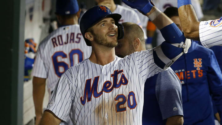 NEW YORK, NEW YORK - SEPTEMBER 09:  Pete Alonso #20 of the New York Mets celebrates his fifth inning home run against the Arizona Diamondbacks with teammate Amed Rosario #1 at Citi Field on September 09, 2019 in New York City. (Photo by Jim McIsaac/Getty Images)