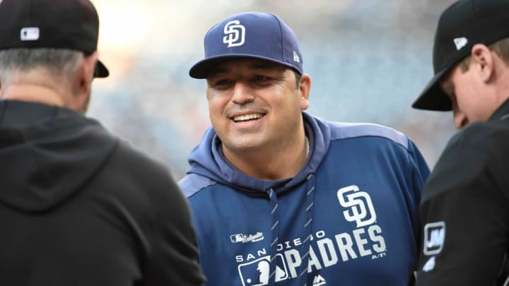 SAN DIEGO, CA - SEPTEMBER 21: Interim manager Rod Barajas #20 of the San Diego Padres comes onto the field before a baseball game against the Arizona Diamondbacks at Petco Park September 21, 2019 in San Diego, California.  (Photo by Denis Poroy/Getty Images)
