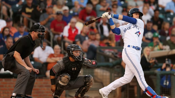 SURPRISE, AZ - NOVEMBER 03:  AFL West All-Star, Cavan Biggio #26 of the Toronto Blue Jays bats during the Arizona Fall League All Star Game at Surprise Stadium on November 3, 2018 in Surprise, Arizona.  (Photo by Christian Petersen/Getty Images)