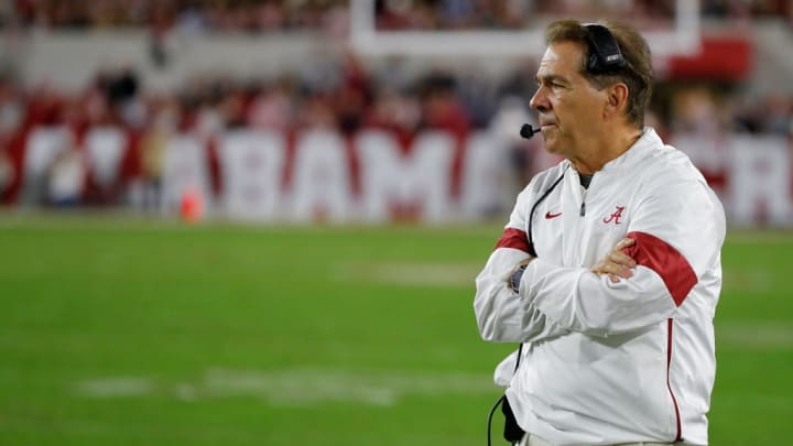 TUSCALOOSA, ALABAMA - OCTOBER 26:  Head coach Nick Saban of the Alabama Crimson Tide looks on in the final minutes of their 48-7 win over the Arkansas Razorbacks at Bryant-Denny Stadium on October 26, 2019 in Tuscaloosa, Alabama. (Photo by Kevin C. Cox/Getty Images)