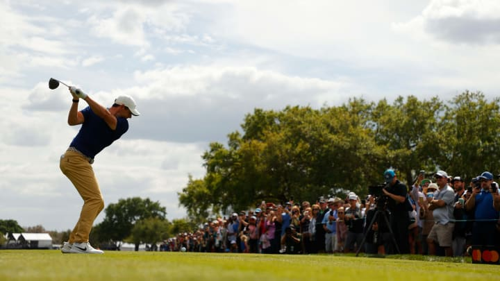 Rory McIlroy hits a driver.