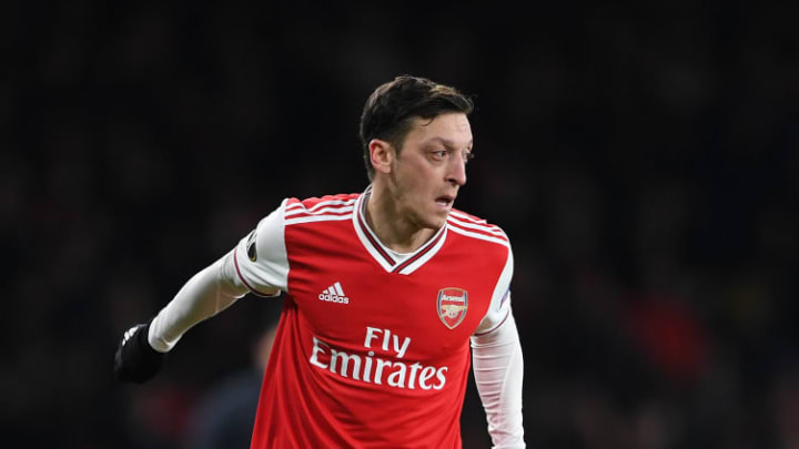 Ozil in action against Olympiacos in the Europa League