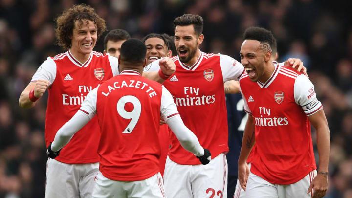 The Arsenal team celebrate against West Ham