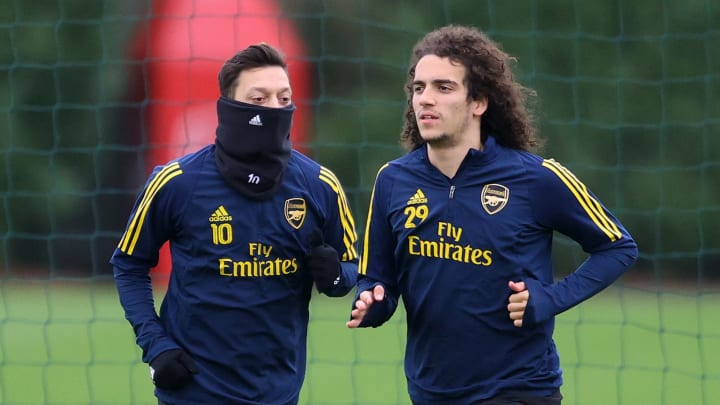 Ozil and Guendouzi in Arsenal training