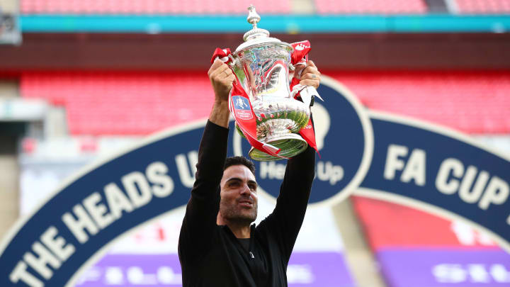 Mikel Arteta has won his first trophy as a manager just eight months after taking charge of Arsenal