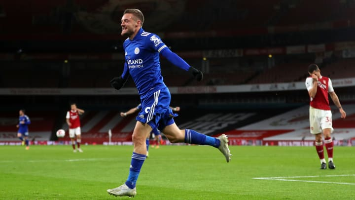 A late Jamie Vardy strike earned the Foxes all three points against Arsenal
