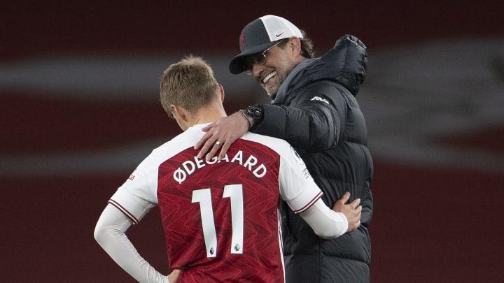 Hatten sich nach dem Gastspiel der Reds im Emirates offenbar einiges zu erzählen: Jürgen Klopp und Martin Ödegaard