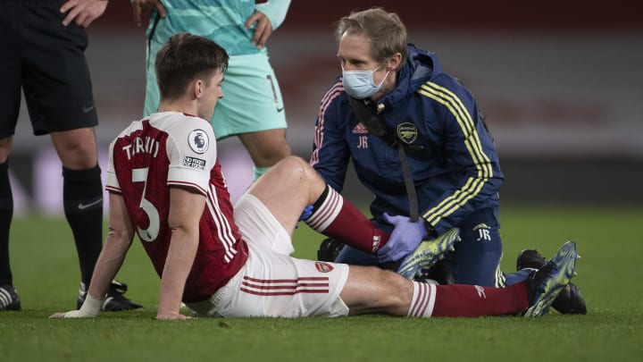 Kieran Tierney limped off in Arsenal's 3-0 defeat by Liverpool on Saturday with a knee injury
