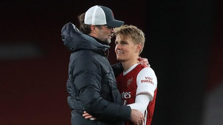 Martin Odegaard was seen speaking to Jurgen Klopp after Arsenal's defeat to Liverpool