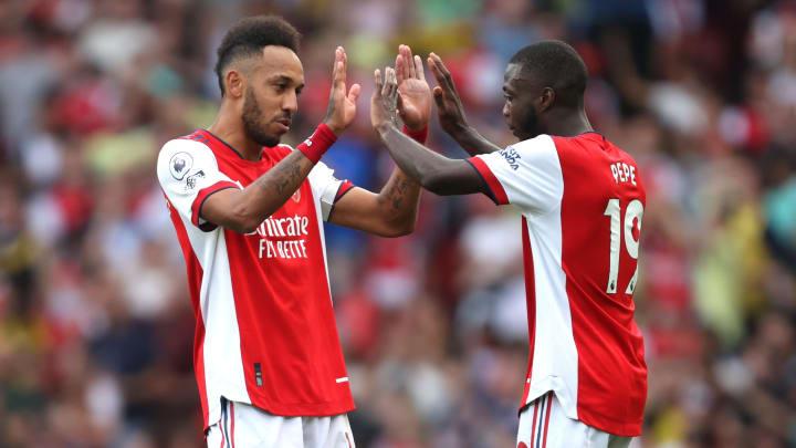 Pierre-Emerick Aubameyang celebrates his, and Arsenal's, first Premier League goal of the season against Norwich