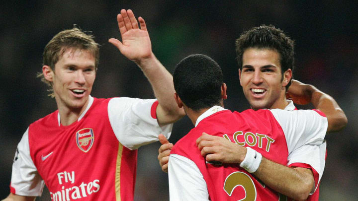 Arsenal's Cesc Fabregas (R) celebrates w
