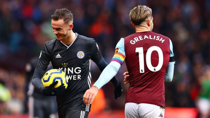Maddison laughs with Jack Grealish during a league clash