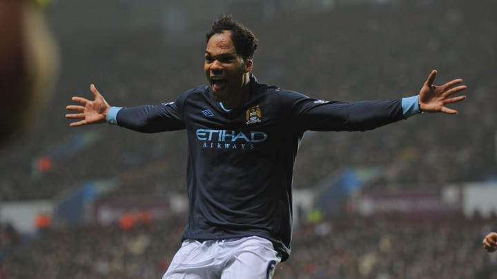 Lescott celebrating wildly against VIlla...little did he know, he'd be relegated with them later in his career