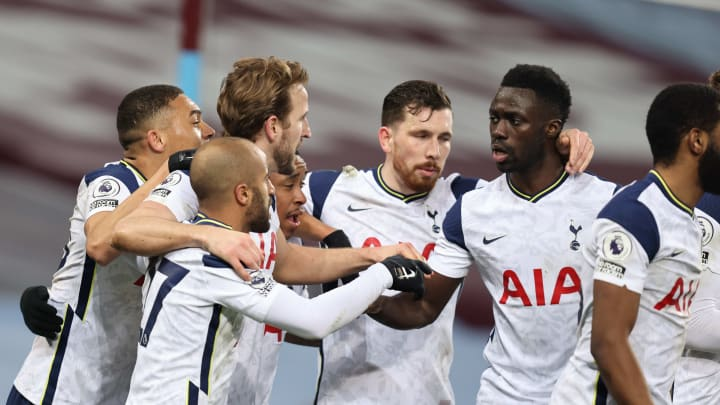 Tottenham celebrate their second in a 2-0 win over Aston Villa last time out