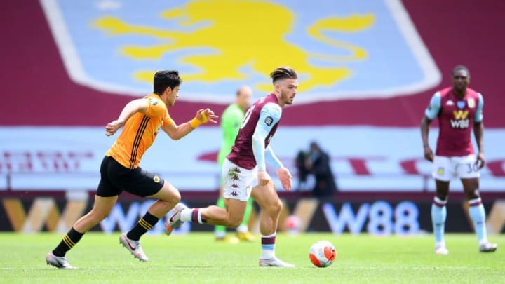 Jack Grealish operated in front of the Wolves defence
