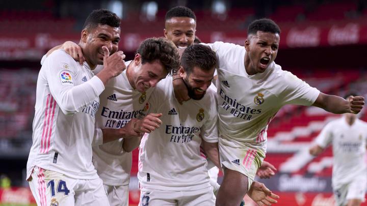 Real celebrate the winning goal