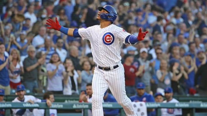 CHICAGO, ILLINOIS - JUNE 24: Willson Contreras #40 of the Chicago Cubs celebrates as he runs the bases after hitting a solo home run in the 2nd inning against the Atlanta Braves at Wrigley Field on June 24, 2019 in Chicago, Illinois. (Photo by Jonathan Daniel/Getty Images)