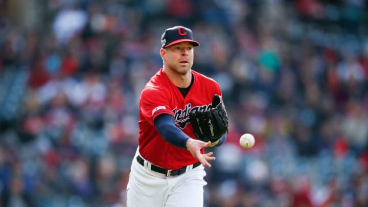 CLEVELAND, OH - APRIL 20: Starting pitcher Corey Kluber #28 of the Cleveland Indians throws to first base against the Atlanta Braves during the third inning of Game 1 of a doubleheader at Progressive Field on April 20, 2019 in Cleveland, Ohio. (Photo by Ron Schwane/Getty Images)