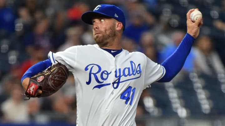 KANSAS CITY, MISSOURI - SEPTEMBER 24:  Starting pitcher Danny Duffy #41 of the Kansas City Royals throws in the first inning against the Atlanta Braves at Kauffman Stadium on September 24, 2019 in Kansas City, Missouri. (Photo by Ed Zurga/Getty Images)