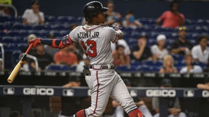 MIAMI, FL - JUNE 07: Ronald Acuna Jr. #13 of the Atlanta Braves singles for a rbi in the second inning against the Atlanta Braves at Marlins Park on June 7, 2019 in Miami, Florida. (Photo by Mark Brown/Getty Images)