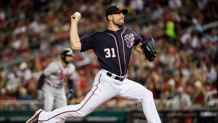 WASHINGTON, DC - SEPTEMBER 13: Max Scherzer #31 of the Washington Nationals pitches against the Atlanta Braves during the second inning at Nationals Park on September 13, 2019 in Washington, DC. (Photo by Scott Taetsch/Getty Images)
